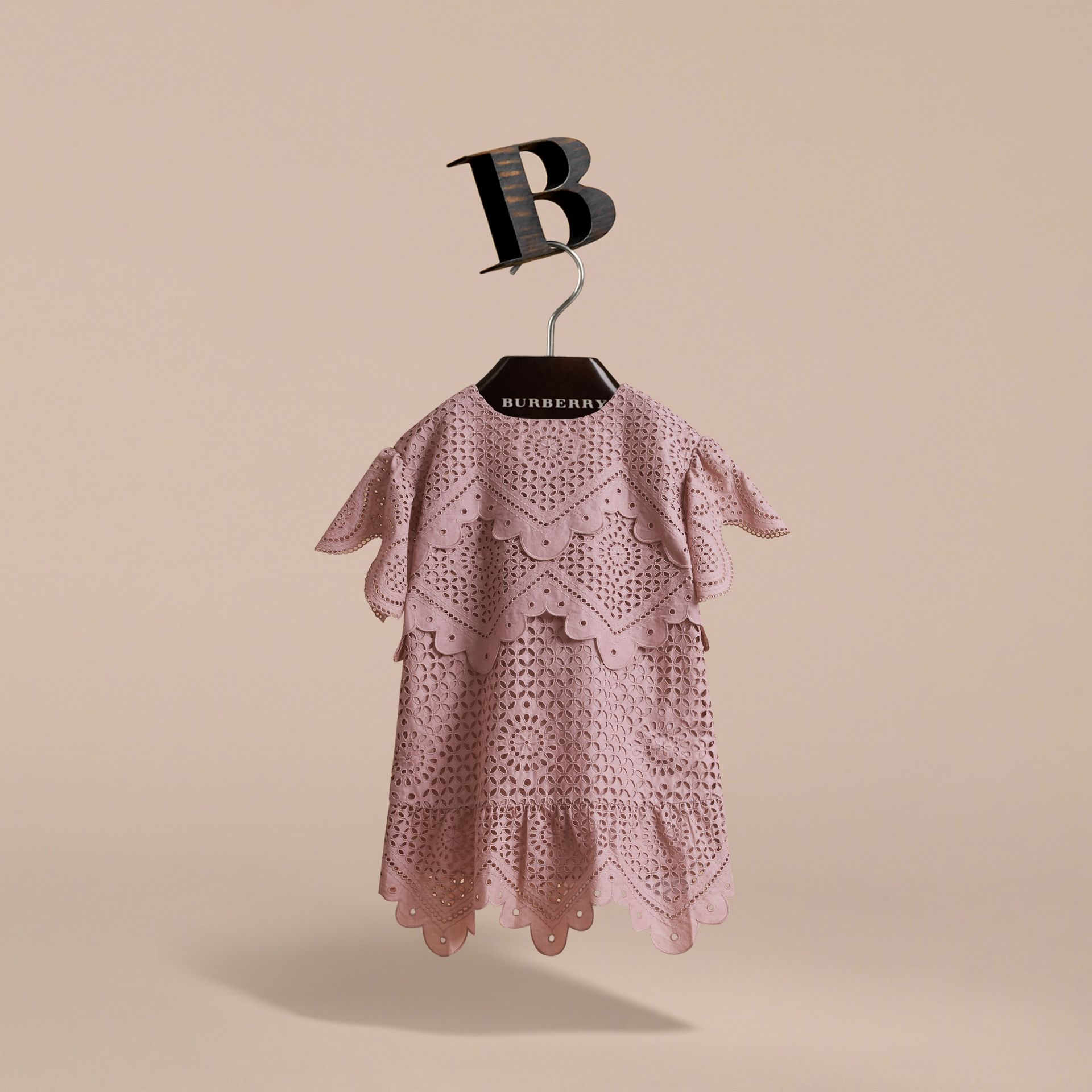 Layered Broderie Anglaise Cotton Dress in Dusty Pink | Burberry Hong Kong - gallery image 3