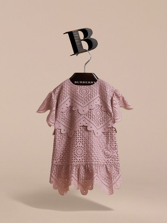Layered Broderie Anglaise Cotton Dress in Dusty Pink | Burberry - cell image 2