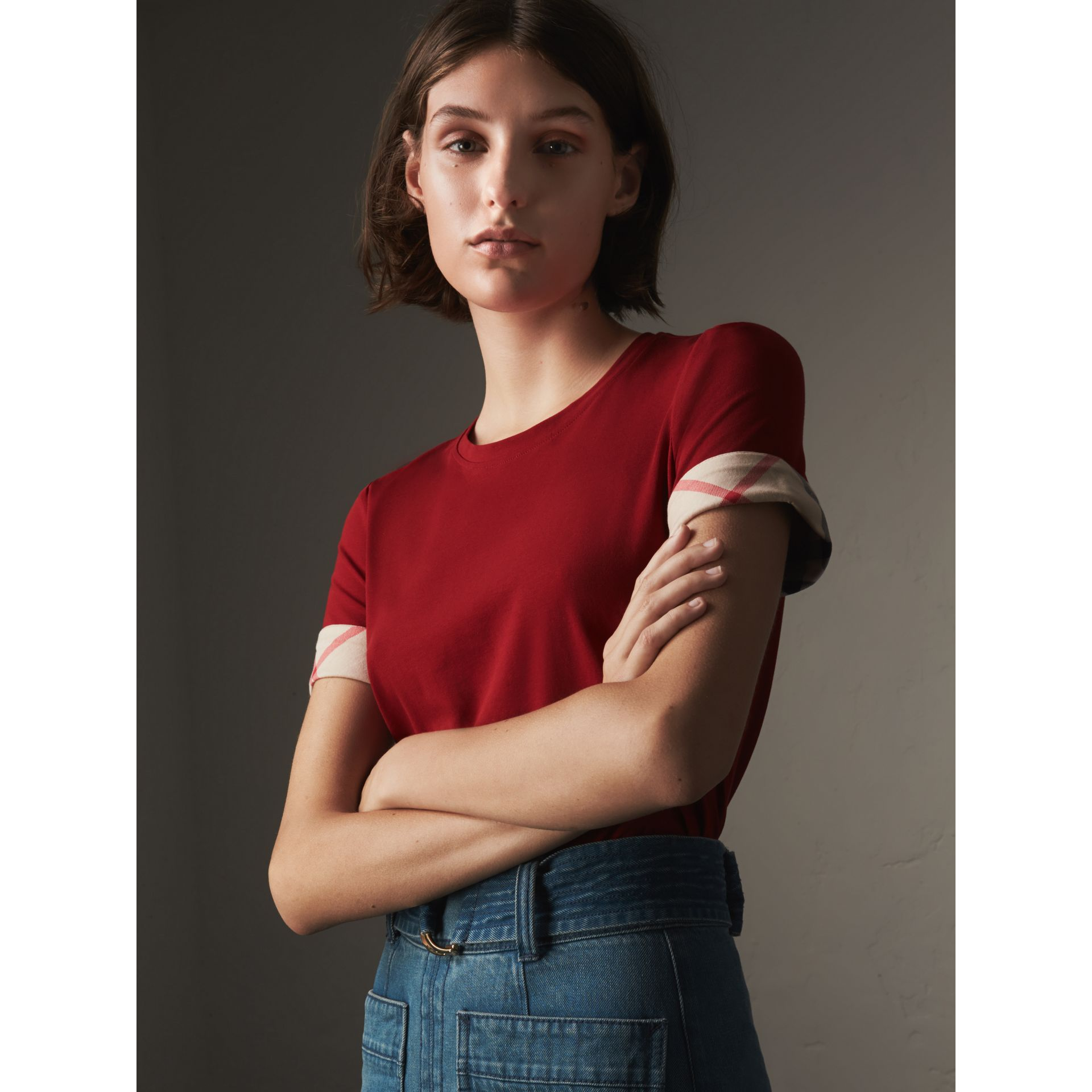 Check Cuff Stretch Cotton T-Shirt in Lacquer Red - Women | Burberry - gallery image 0