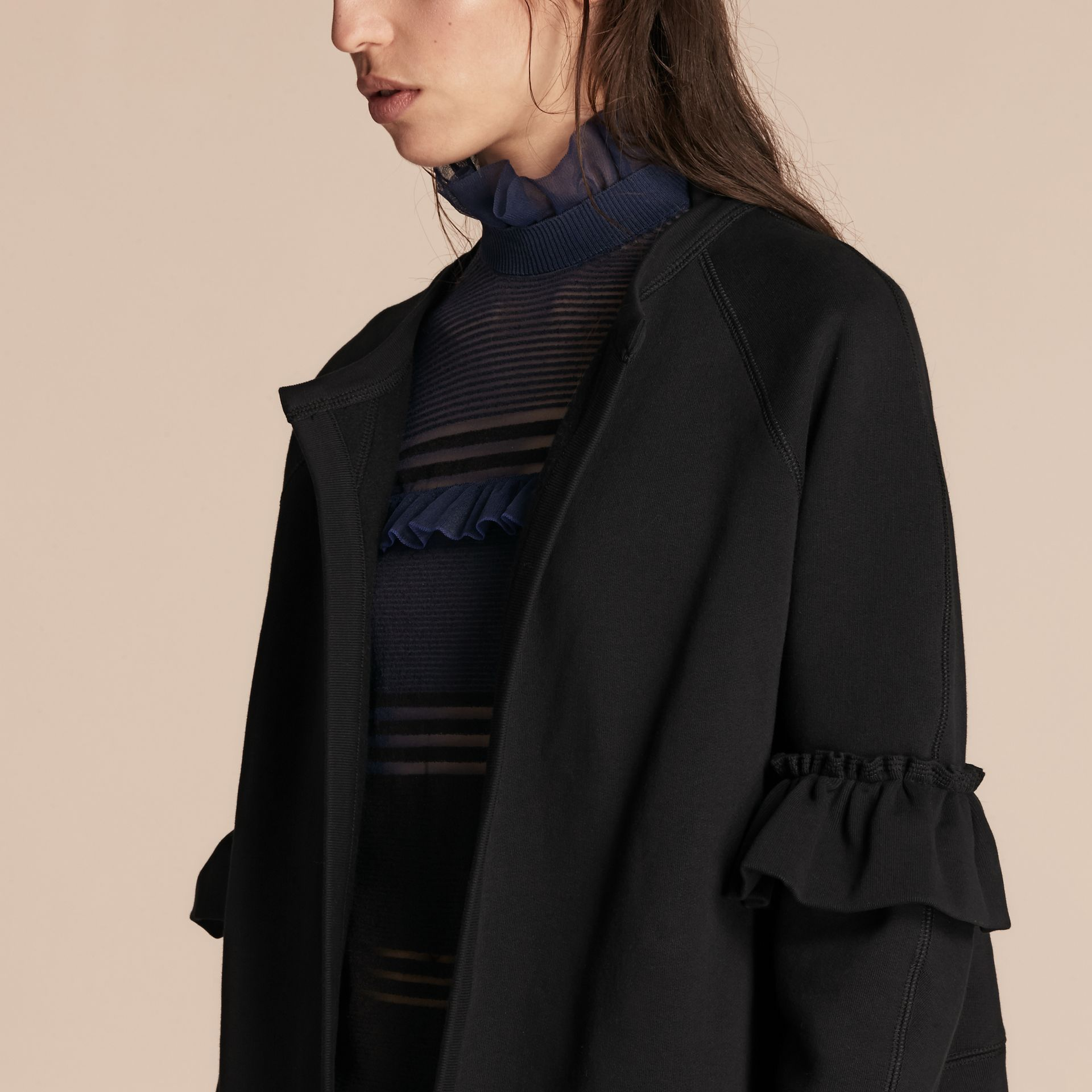 Black Cotton Blend Sweatshirt Jacket with Ruffle Sleeves Black - gallery image 5