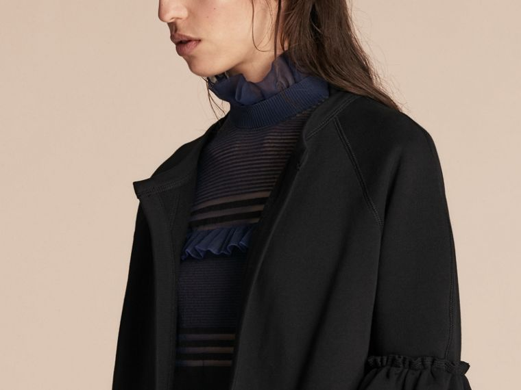 Black Cotton Blend Sweatshirt Jacket with Ruffle Sleeves Black - cell image 4