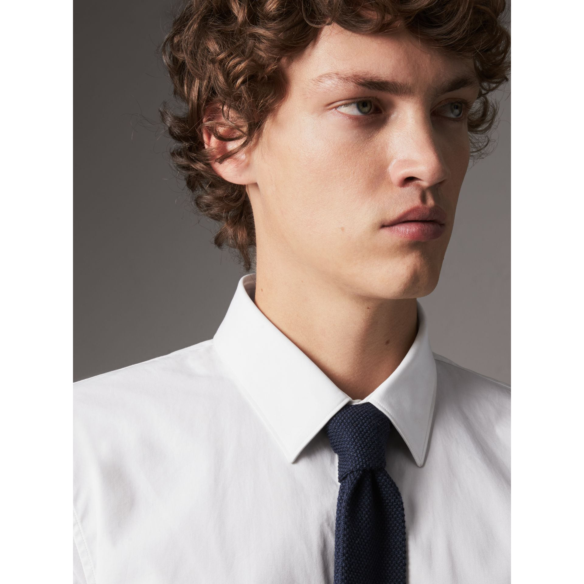 Slim Fit Double-cuff Cotton Poplin Shirt in White - Men | Burberry - gallery image 2