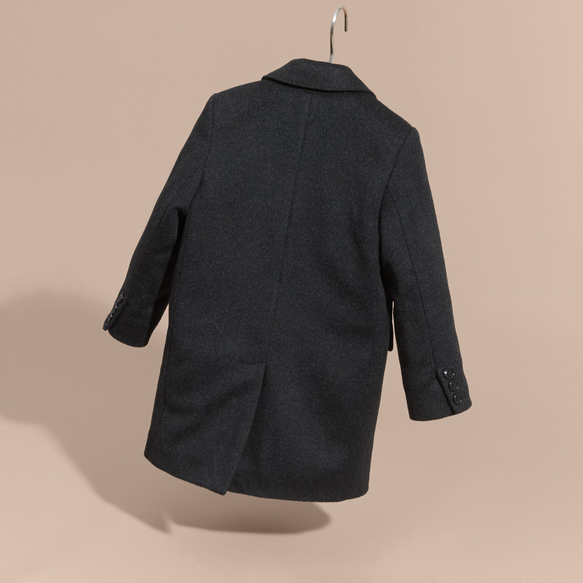 Dark grey melange Down-filled Wool Cashmere Overcoat - gallery image 4