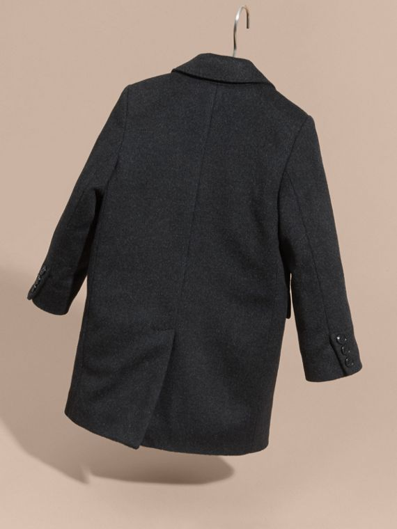 Dark grey melange Down-filled Wool Cashmere Overcoat - cell image 3