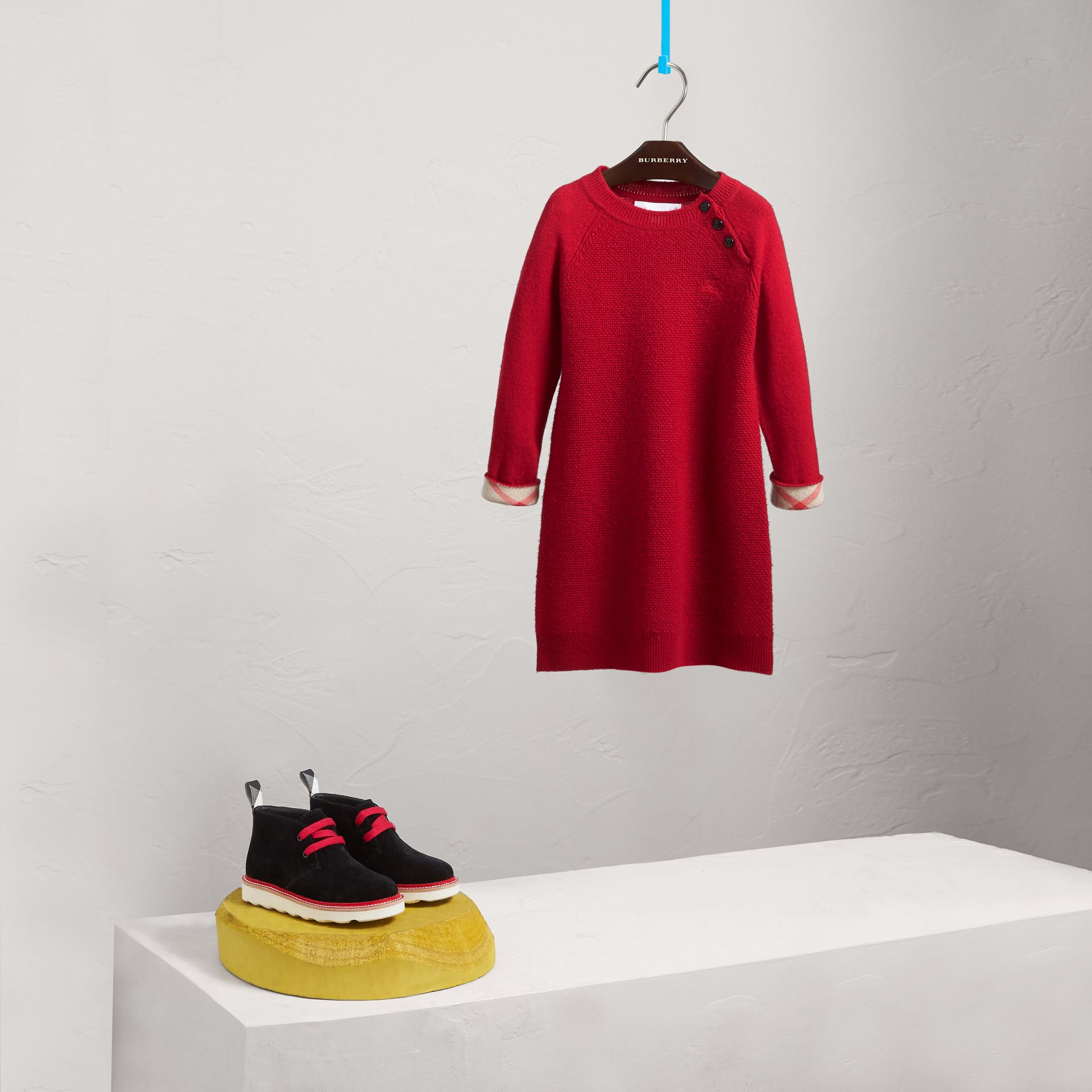 Cashmere Sweater Dress in Parade Red - Girl | Burberry Canada - gallery image 2