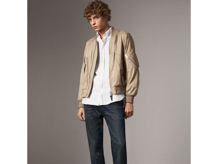Check Detail Cotton Oxford Shirt in White - Men | Burberry United States - cell image 4