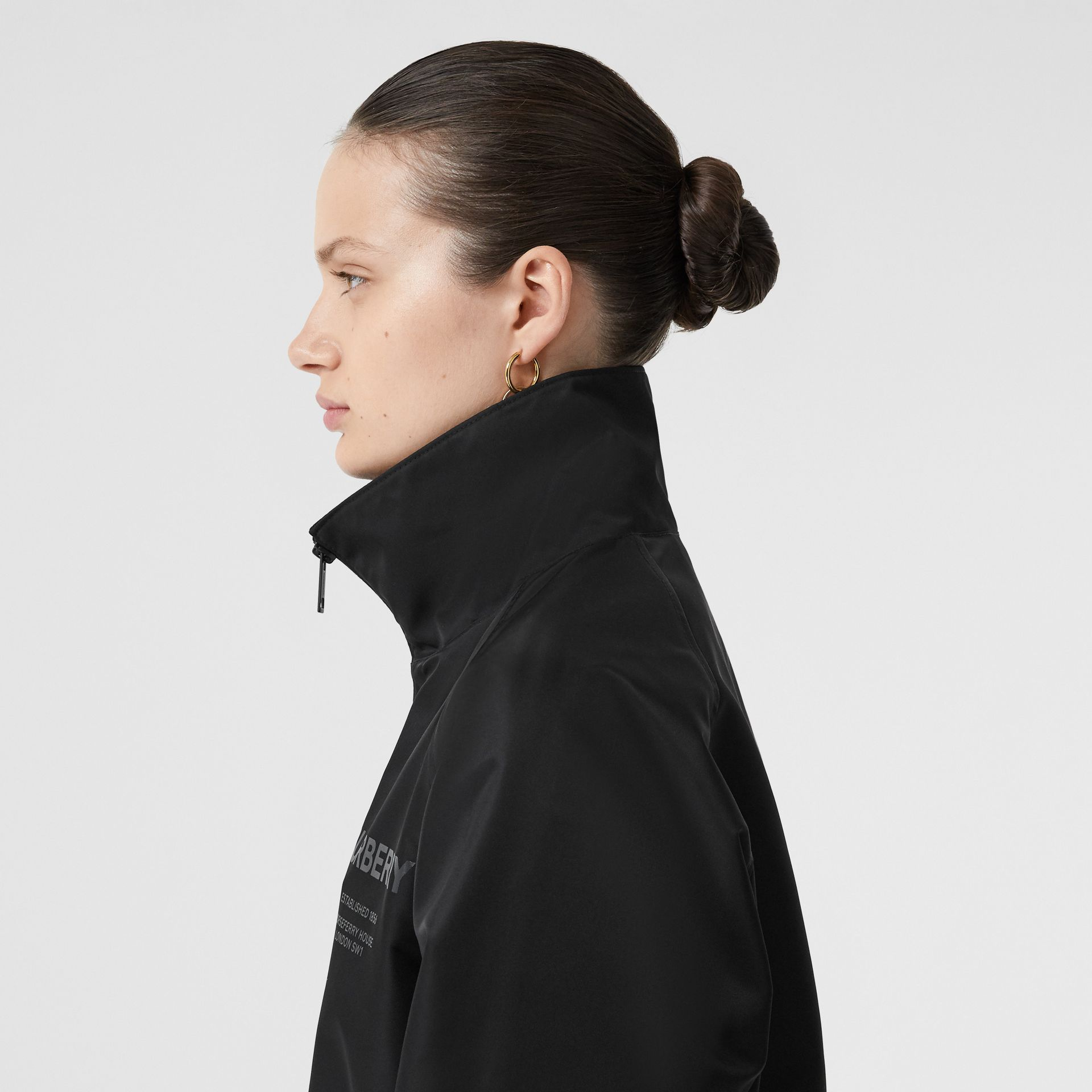 Horseferry Print Lightweight Funnel Neck Jacket in Black - Women | Burberry - gallery image 4