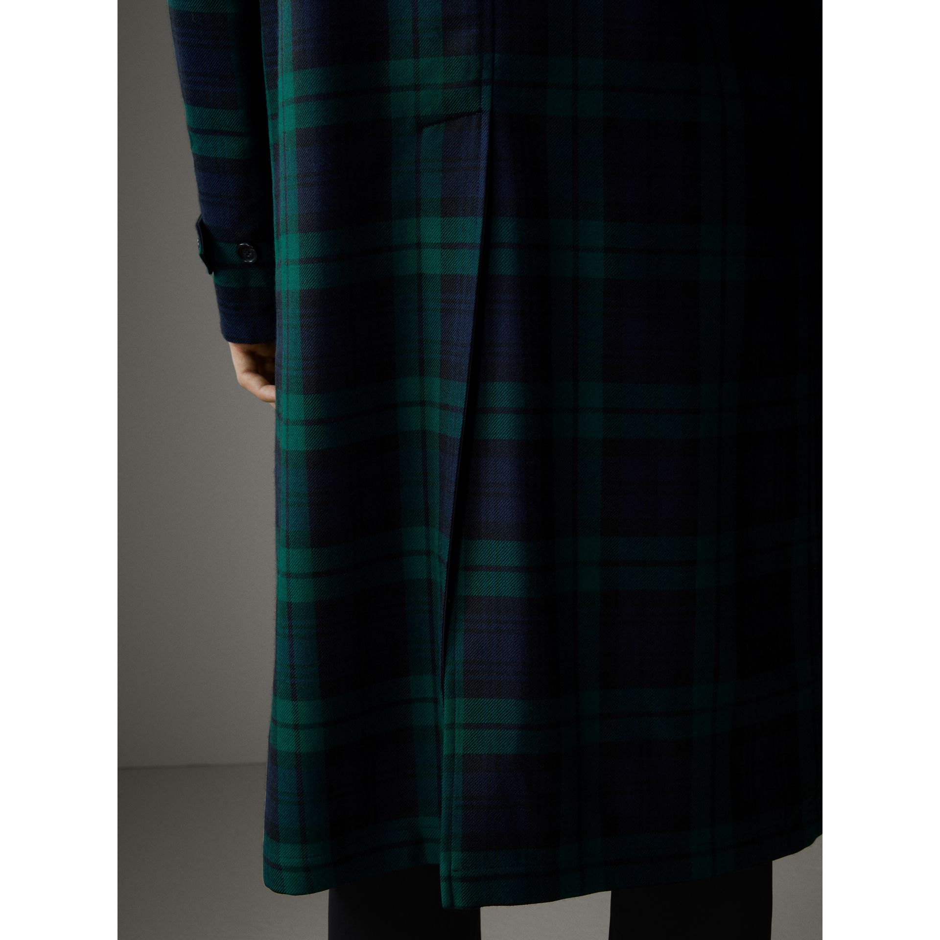 Reversible Tartan Wool and Cotton Gabardine Car Coat in Navy - Men | Burberry - gallery image 5
