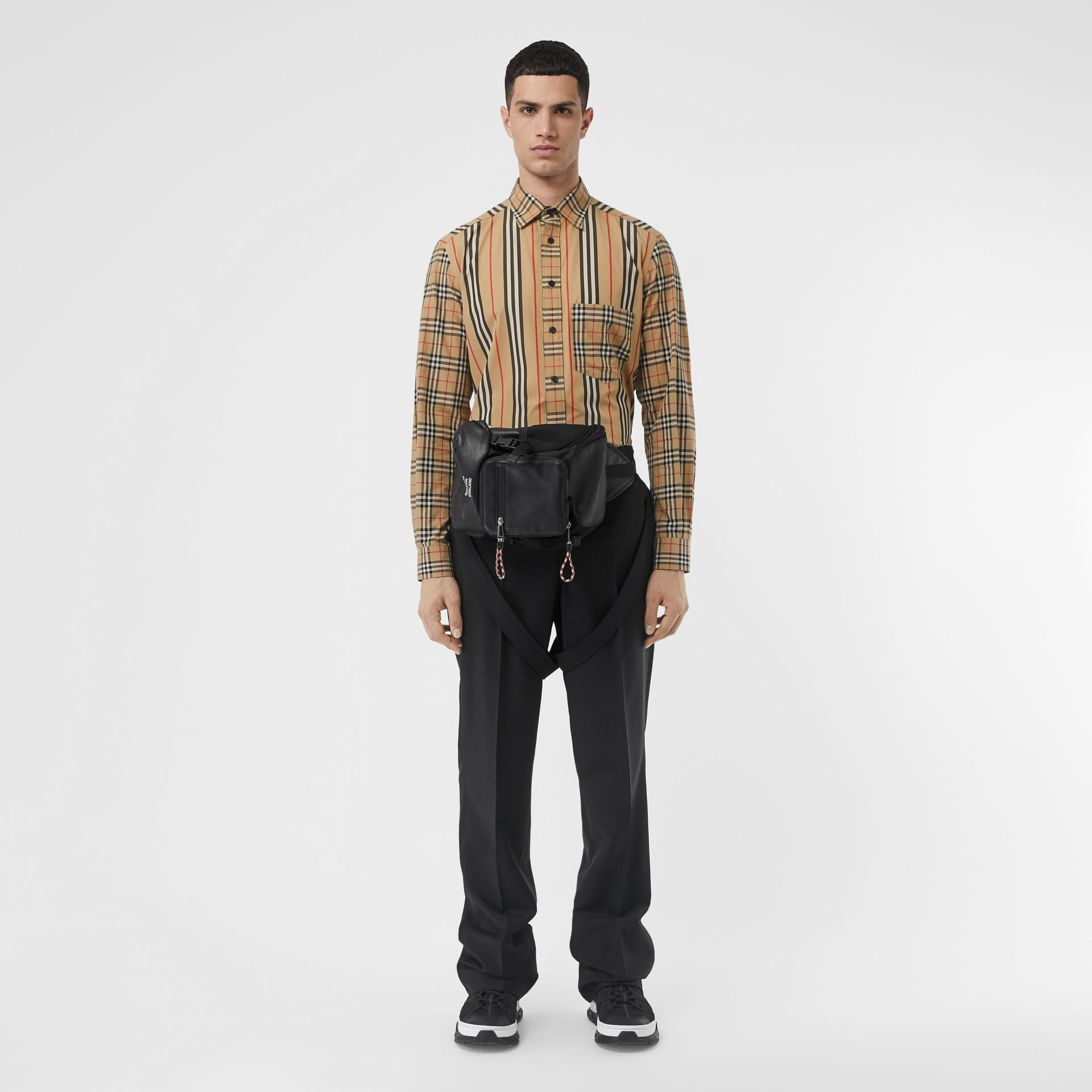 Classic Fit Patchwork Cotton Poplin Shirt in Archive Beige - Men | Burberry - gallery image 4
