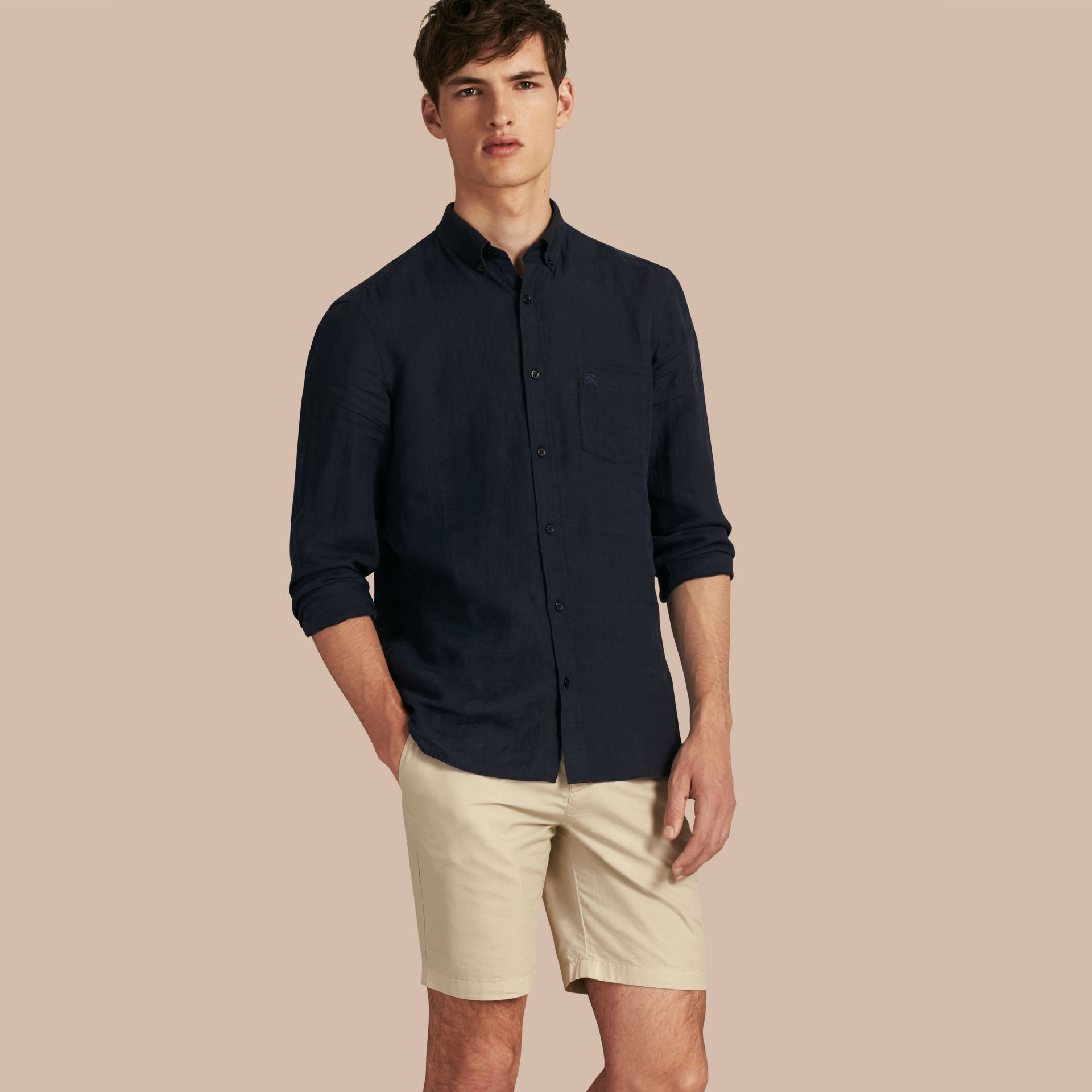 Cotton Poplin Chino Shorts in Stone - gallery image 1