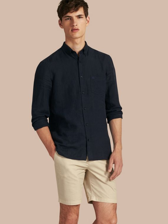 Cotton Poplin Chino Shorts in Stone - Men | Burberry