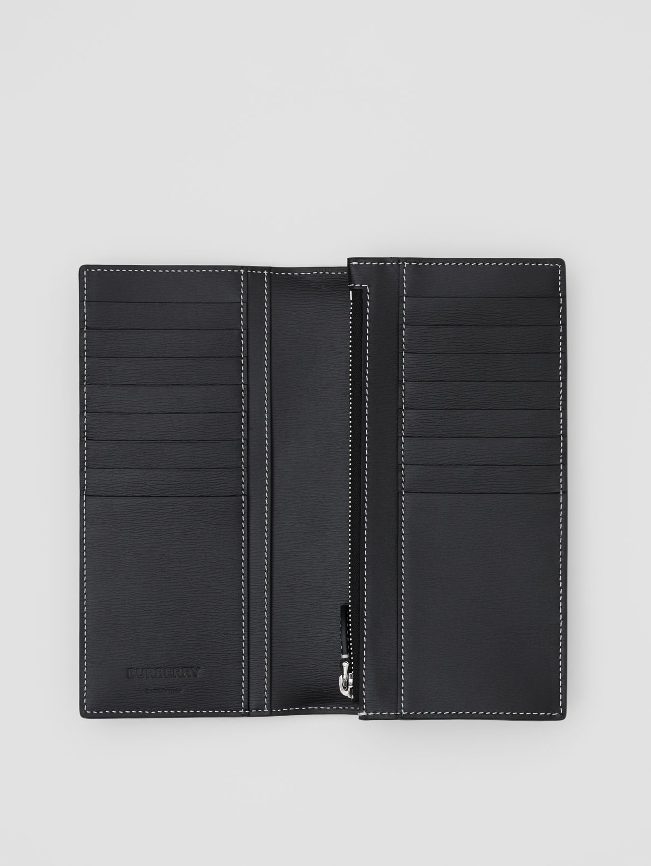 Topstitched Grainy Leather Continental Wallet in Black