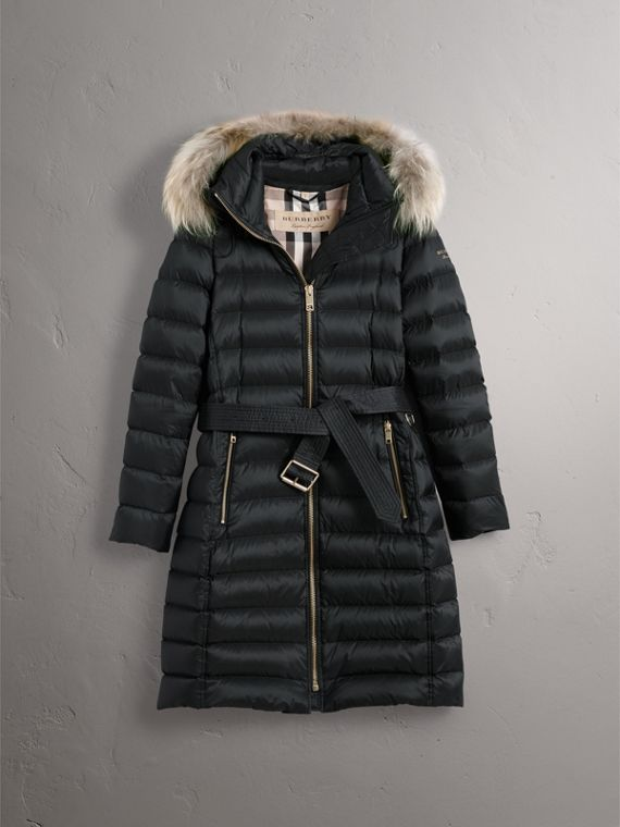Detachable Fur Trim Down-filled Puffer Coat with Hood in Black