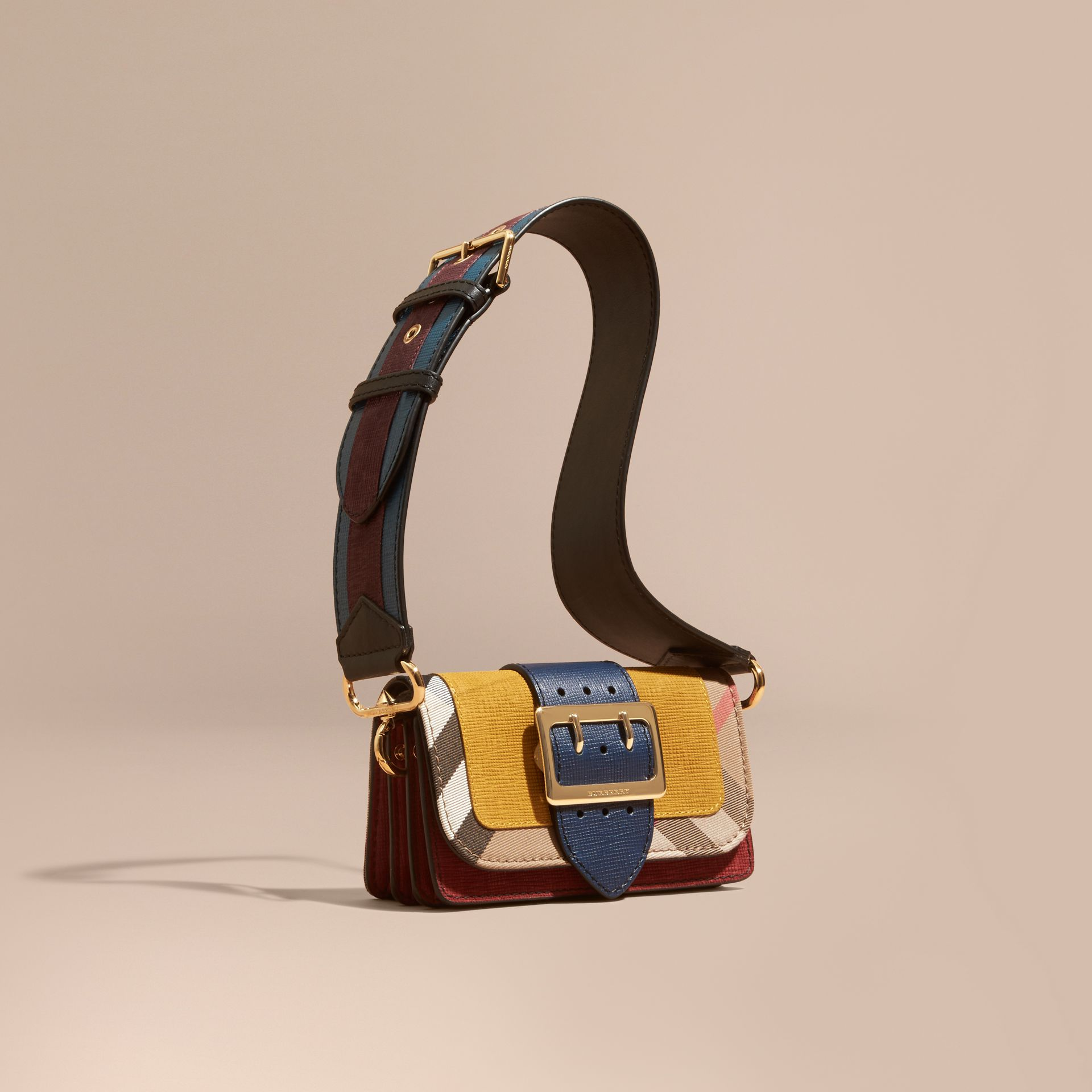 The Small Buckle Bag in Suede and House Check in Larch Yellow - gallery image 1