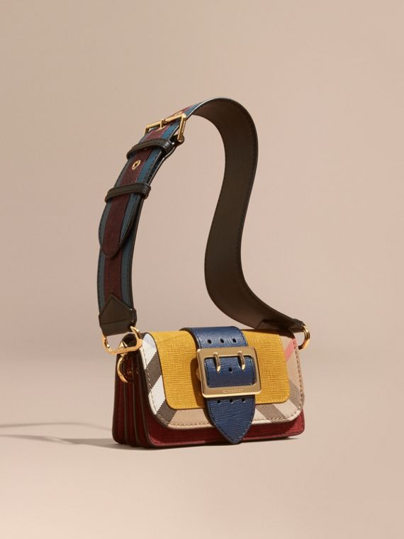 The Small Buckle Bag in Suede and House Check Larch Yellow