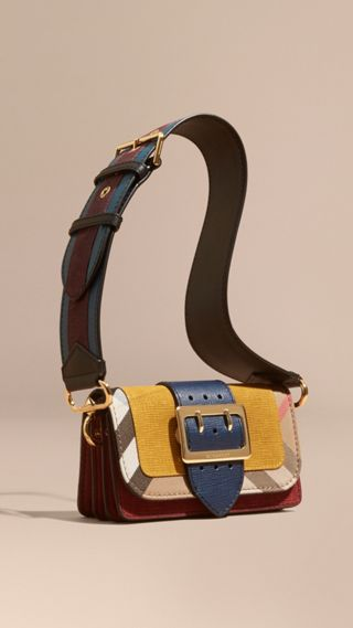 The Small Buckle Bag in Suede and House Check