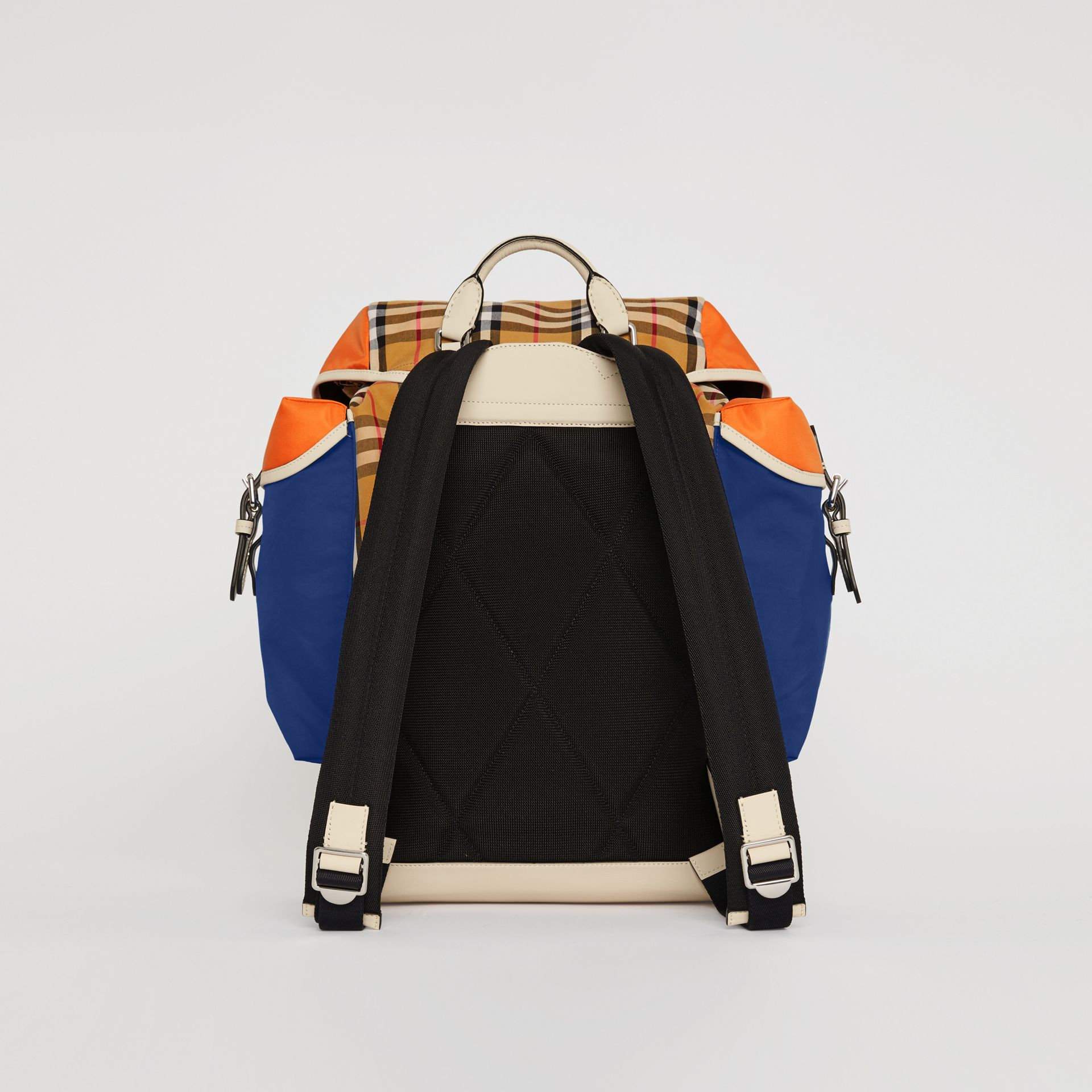 Colour Block Vintage Check and Leather Backpack in Cerulean Blue - Men | Burberry Australia - gallery image 7