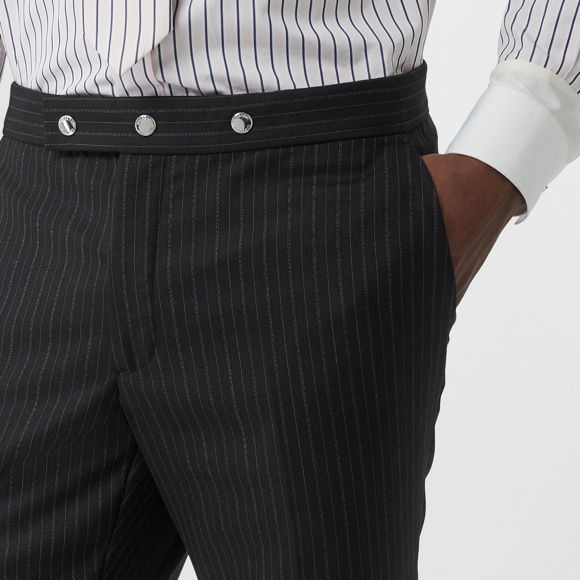 Classic Fit Pinstriped Wool Tailored Trousers in Black - Men | Burberry - gallery image 5