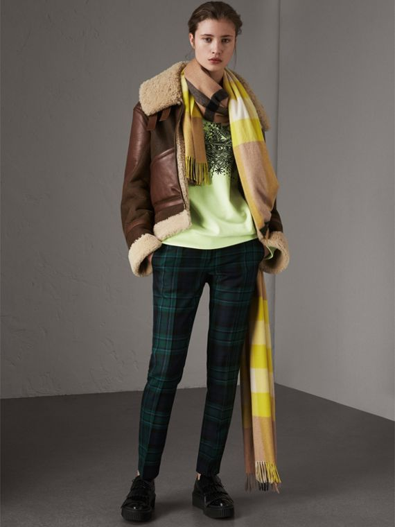 Tartan Wool Tailored Trousers in Pine Green