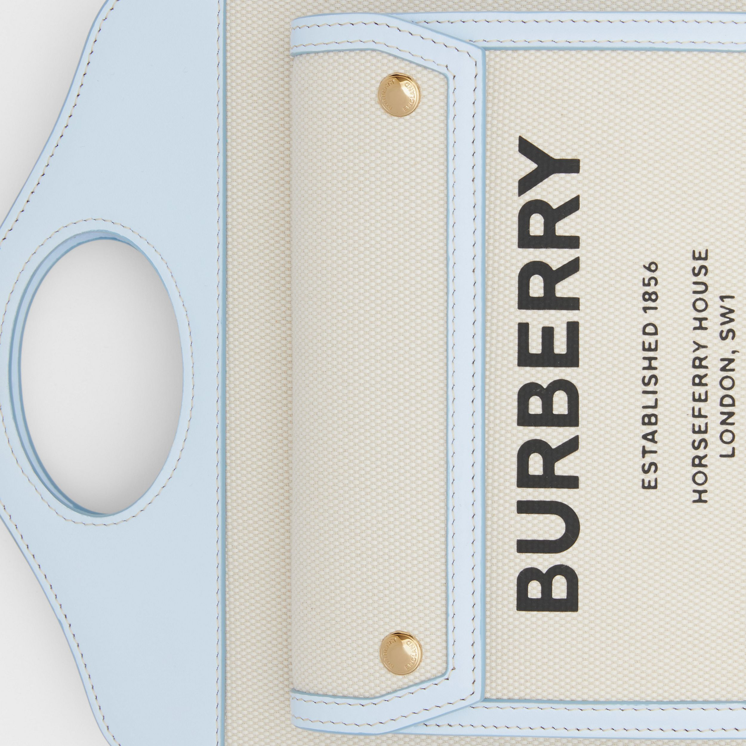 Mini Two-tone Canvas and Leather Pocket Bag in Natural/pale Blue | Burberry - 2