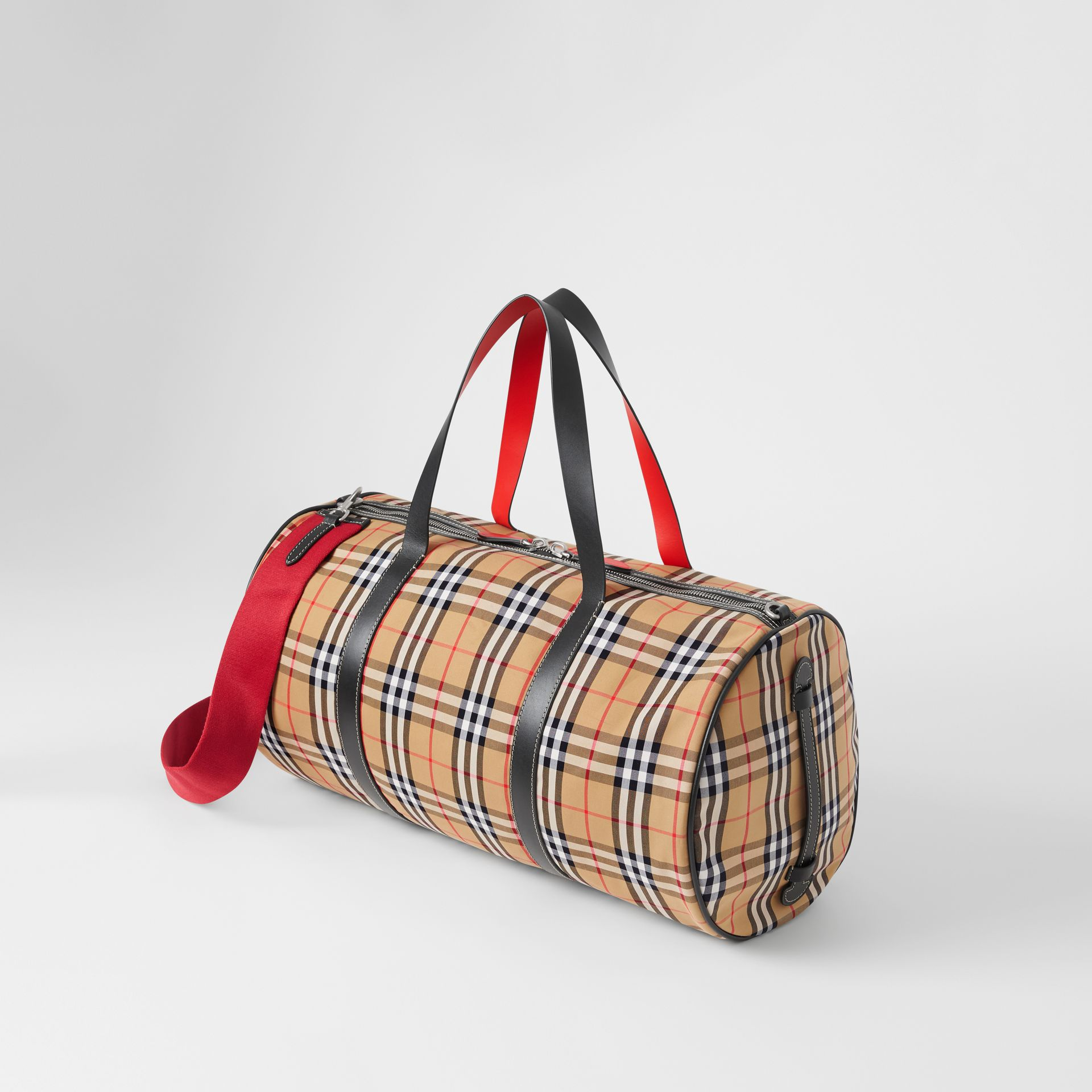 Large Vintage Check and Leather Barrel Bag in Military Red - Men | Burberry Canada - gallery image 3