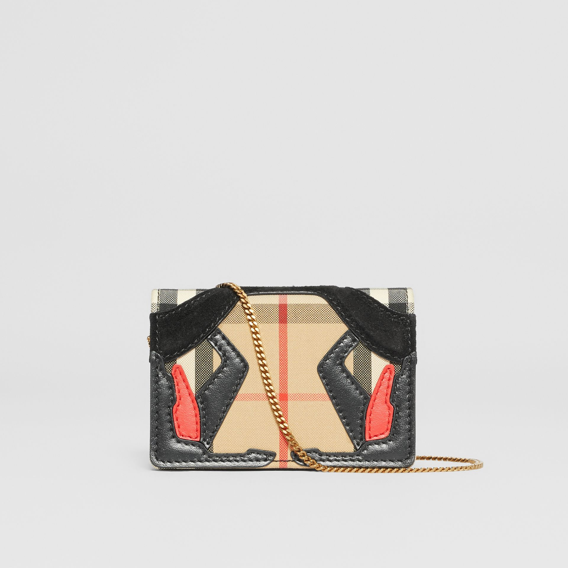 Vintage Check Canvas Card Case with Detachable Strap in Archive Beige | Burberry - gallery image 9