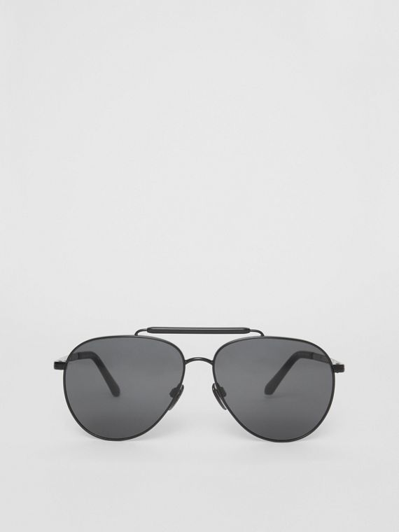 Top Bar Detail Pilot Sunglasses in Black