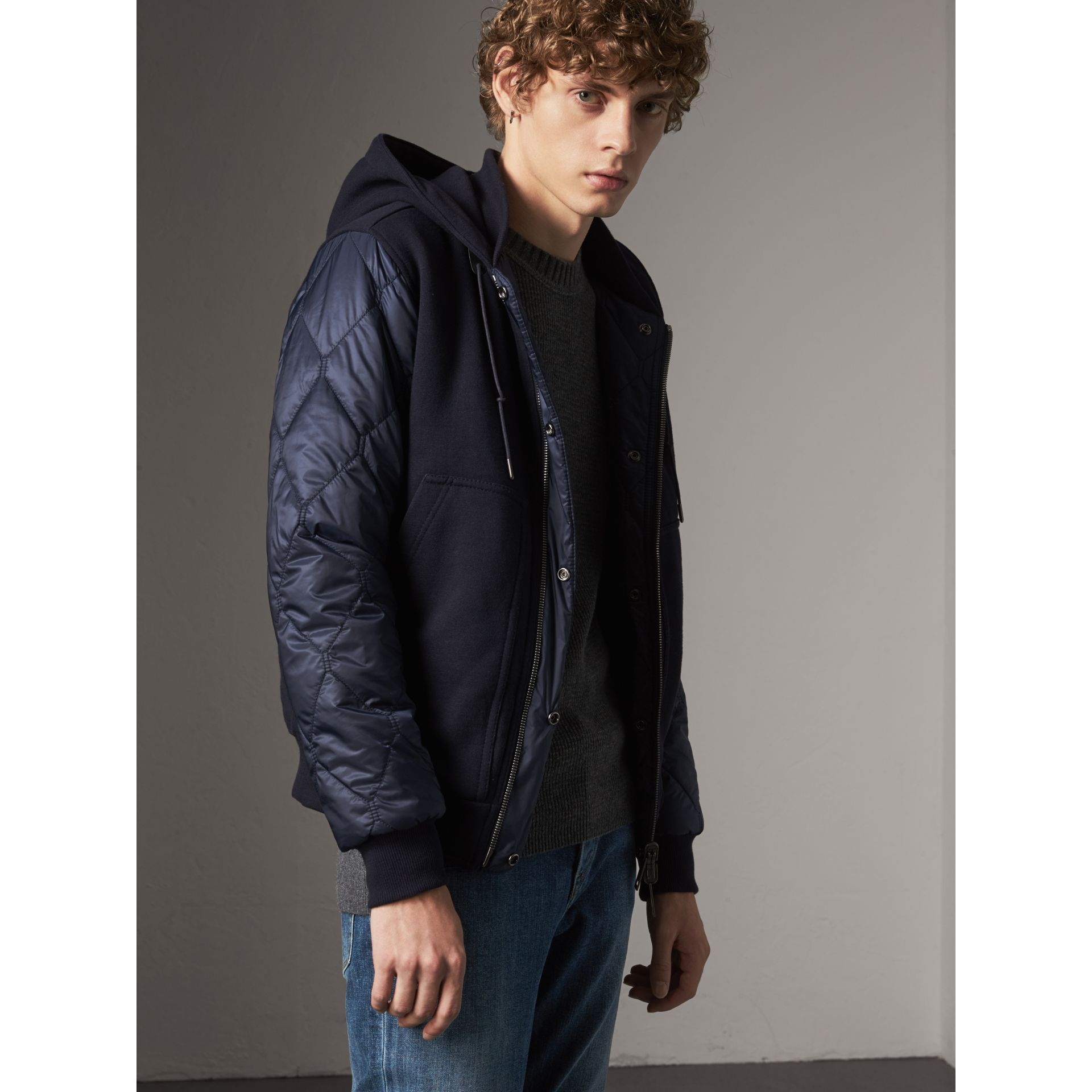 Reversible Quilted Cotton Hooded Bomber Jacket in Navy - Men | Burberry United States - gallery image 1