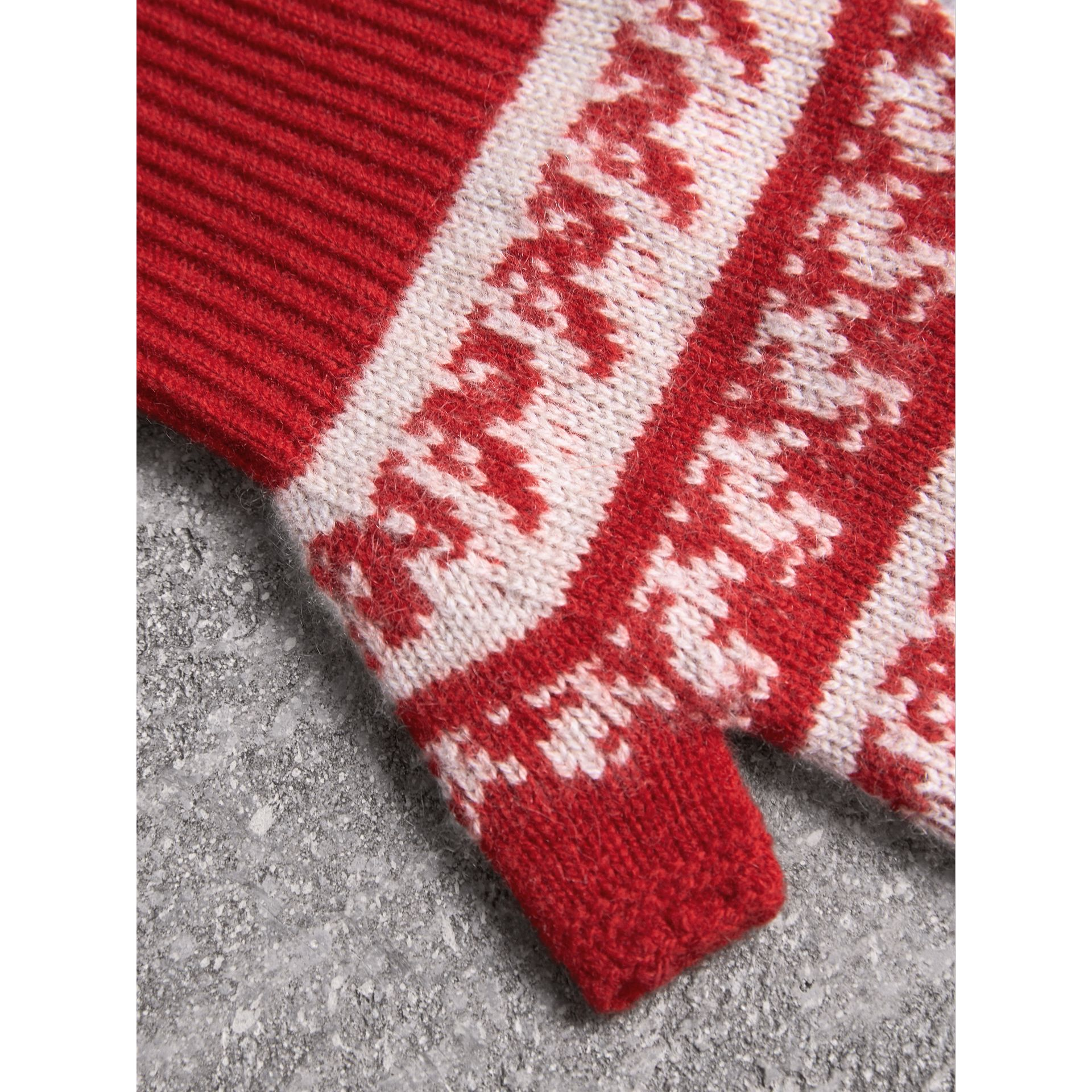 Fair Isle Cashmere Wool Fingerless Gloves in Military Red | Burberry - gallery image 2
