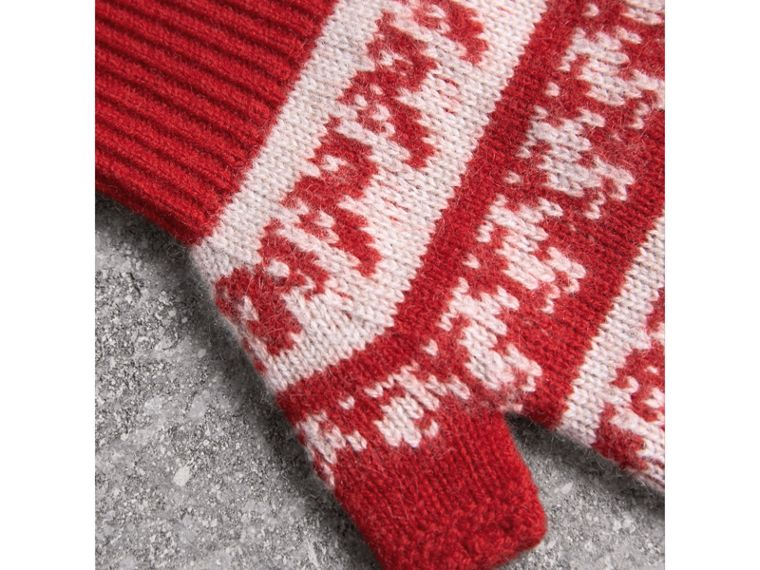 Fair Isle Cashmere Wool Fingerless Gloves in Military Red | Burberry - cell image 1