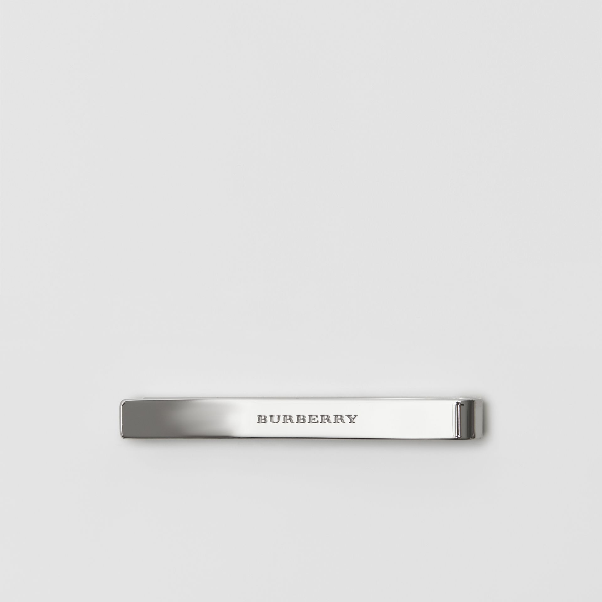 Check-engraved Tie Bar in Silver - Men | Burberry - gallery image 2