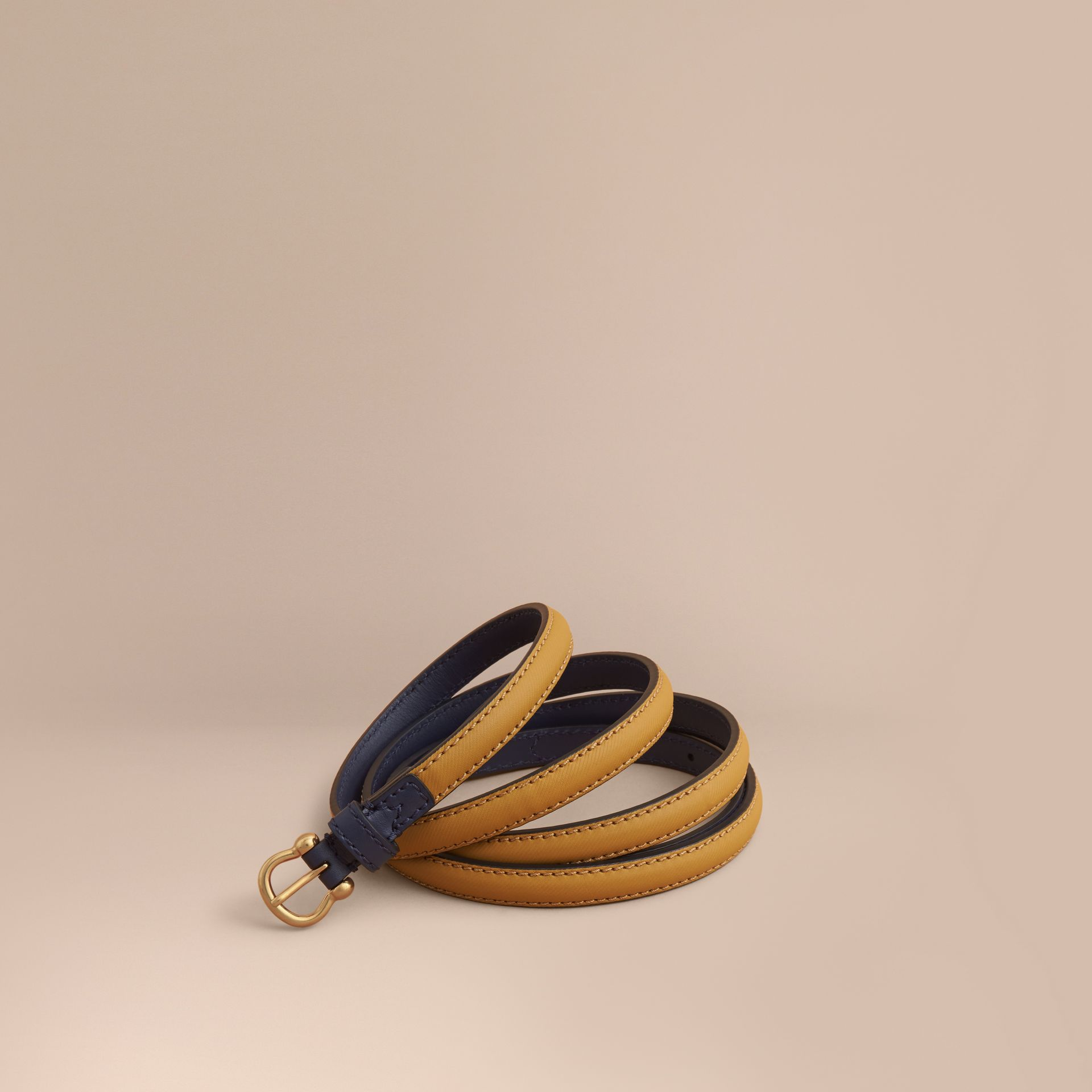 Two-tone Trench Leather Belt Ochre Yellow / Ink Blue - gallery image 1