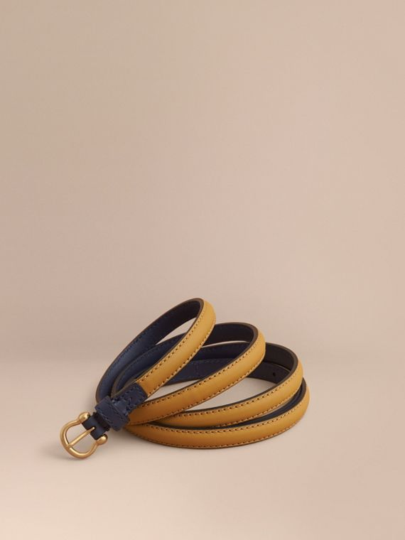 Two-tone Trench Leather Belt Ochre Yellow / Ink Blue