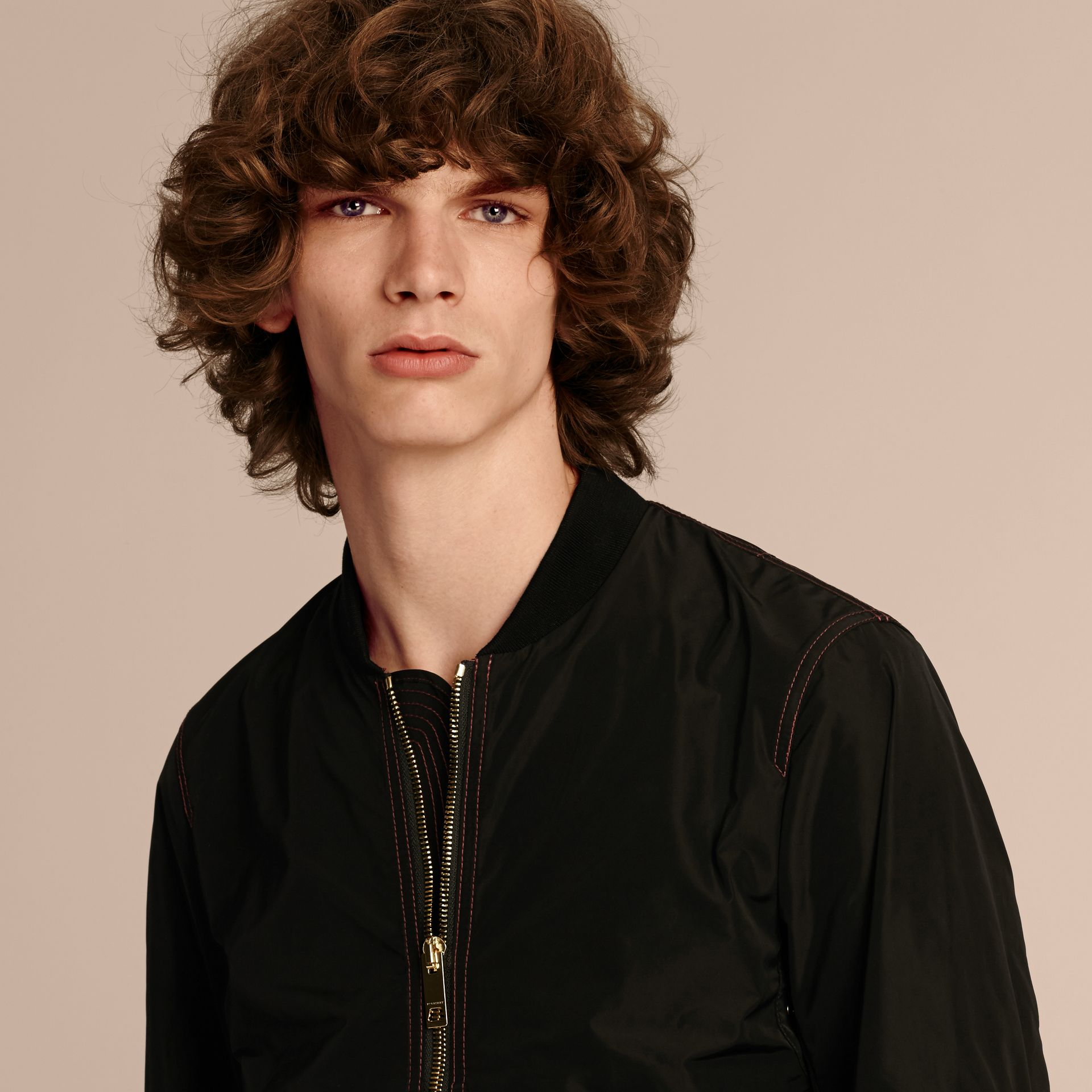Black Lightweight Topstitch Detail Taffeta Bomber Jacket - gallery image 5