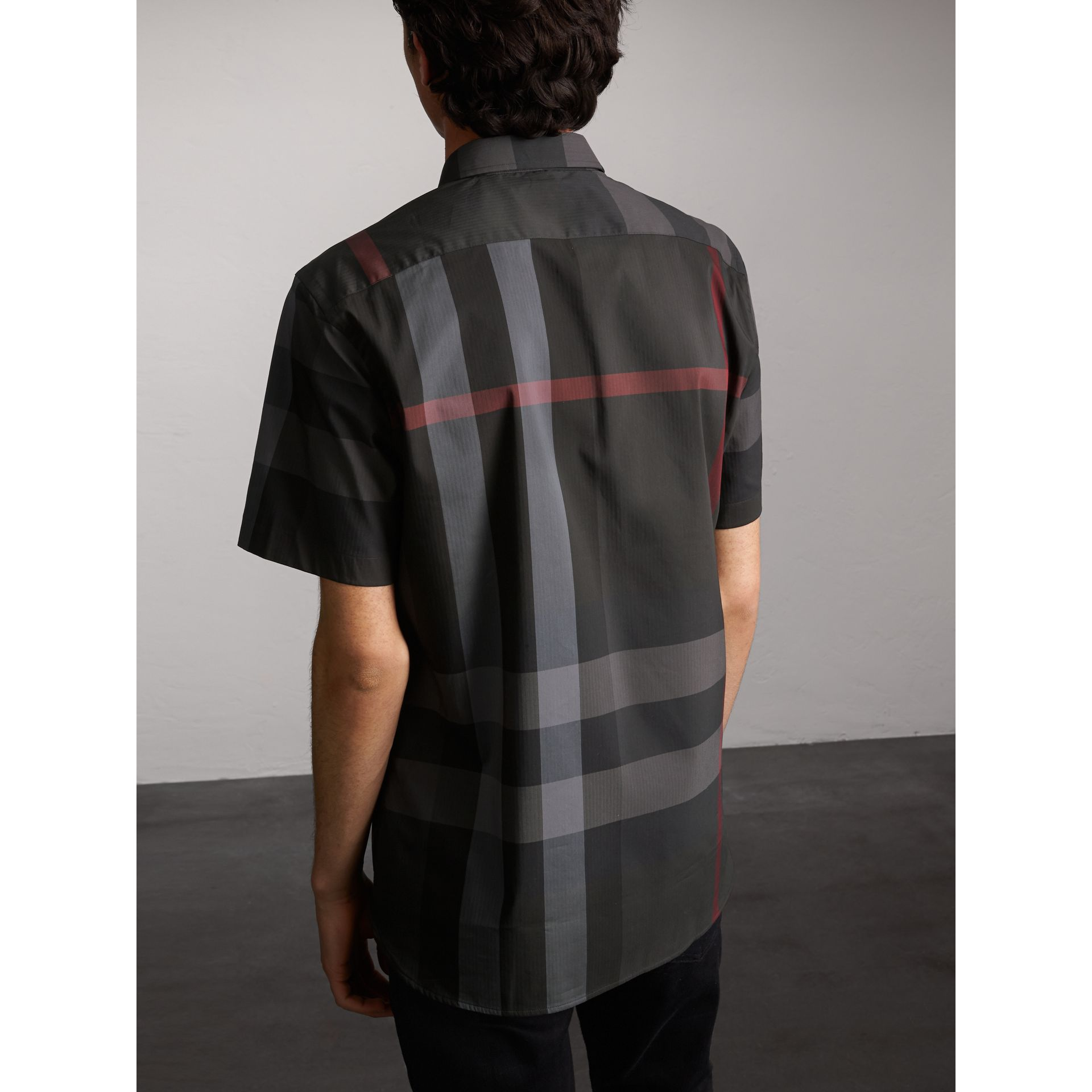 Short-sleeve Check Stretch Cotton Blend Shirt in Charcoal - Men | Burberry Australia - gallery image 2