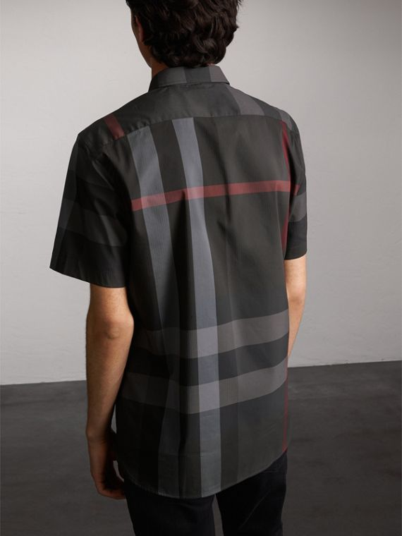 Short-sleeve Check Stretch Cotton Blend Shirt in Charcoal - Men | Burberry Australia - cell image 2