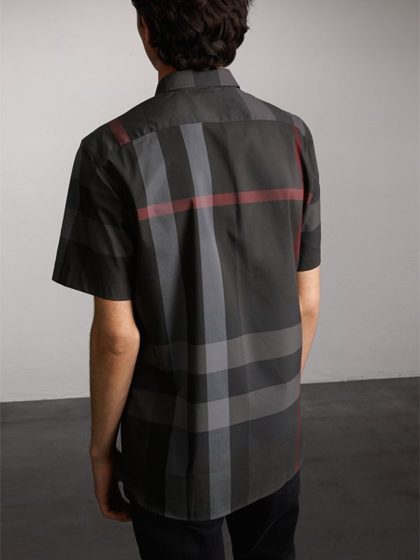 Short-sleeve Check Stretch Cotton Blend Shirt in Charcoal - Men | Burberry - cell image 2
