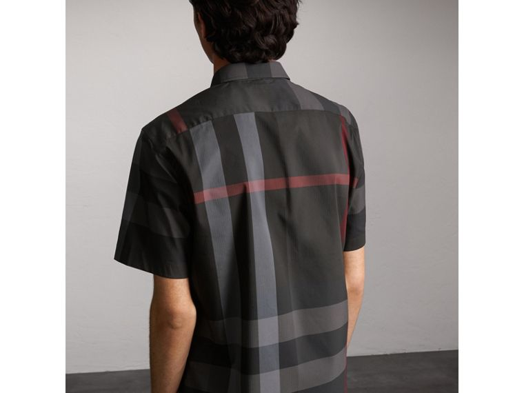 Short-sleeve Check Stretch Cotton Blend Shirt in Charcoal - cell image 1