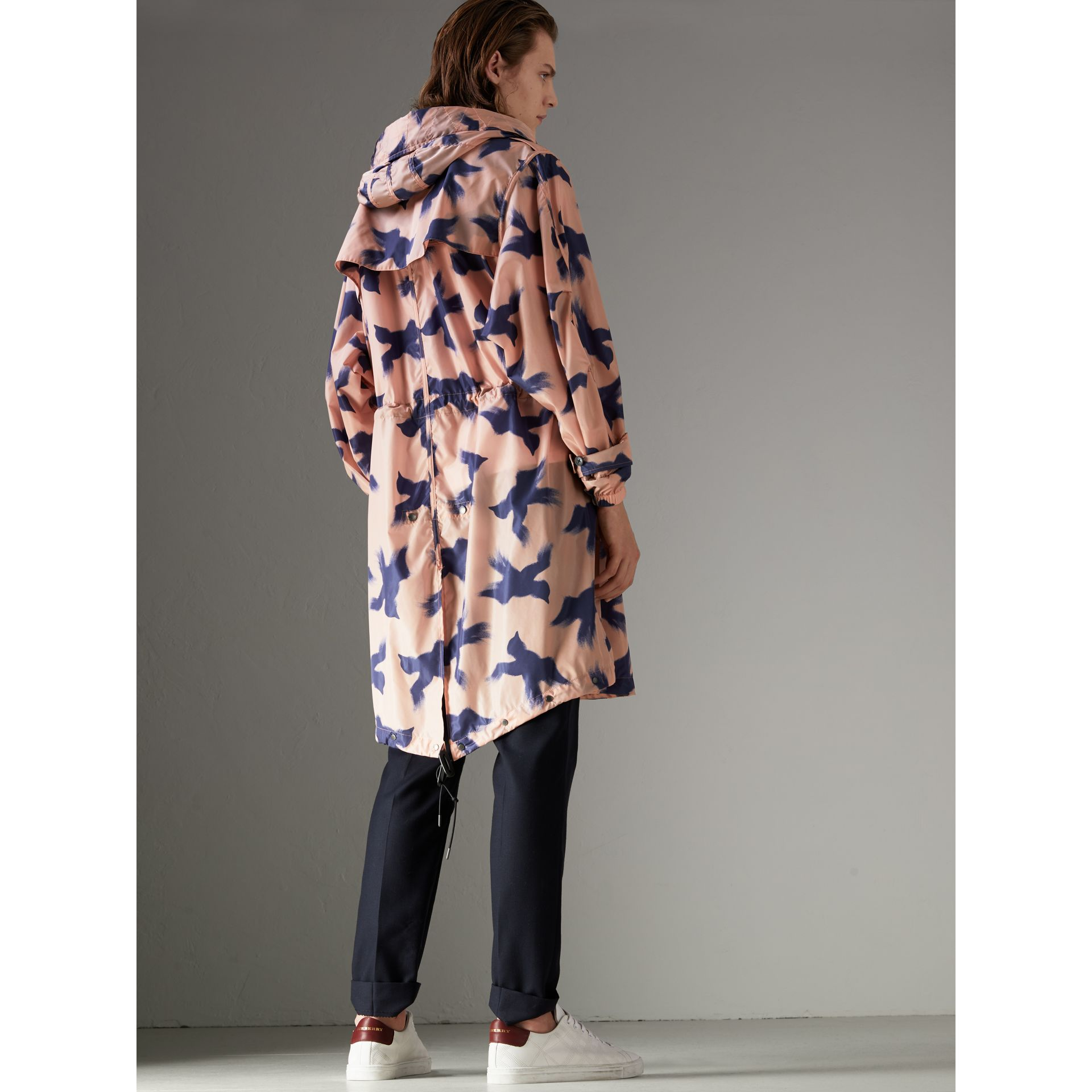 Bird Print Lightweight Parka in Apricot Pink - Men | Burberry United States - gallery image 2