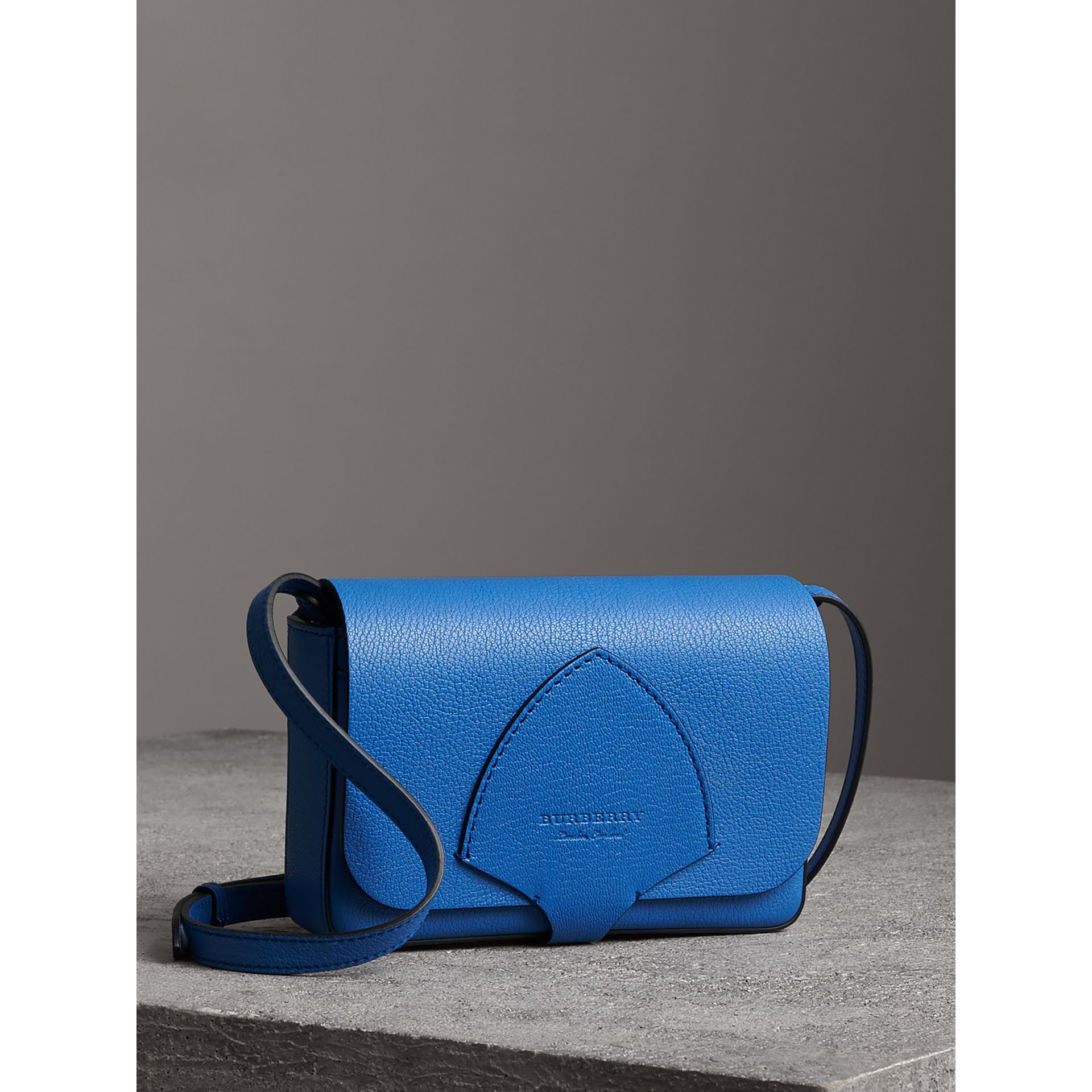 Equestrian Shield Leather Wallet with Detachable Strap in Hydrangea Blue - Women | Burberry Australia - gallery image 6