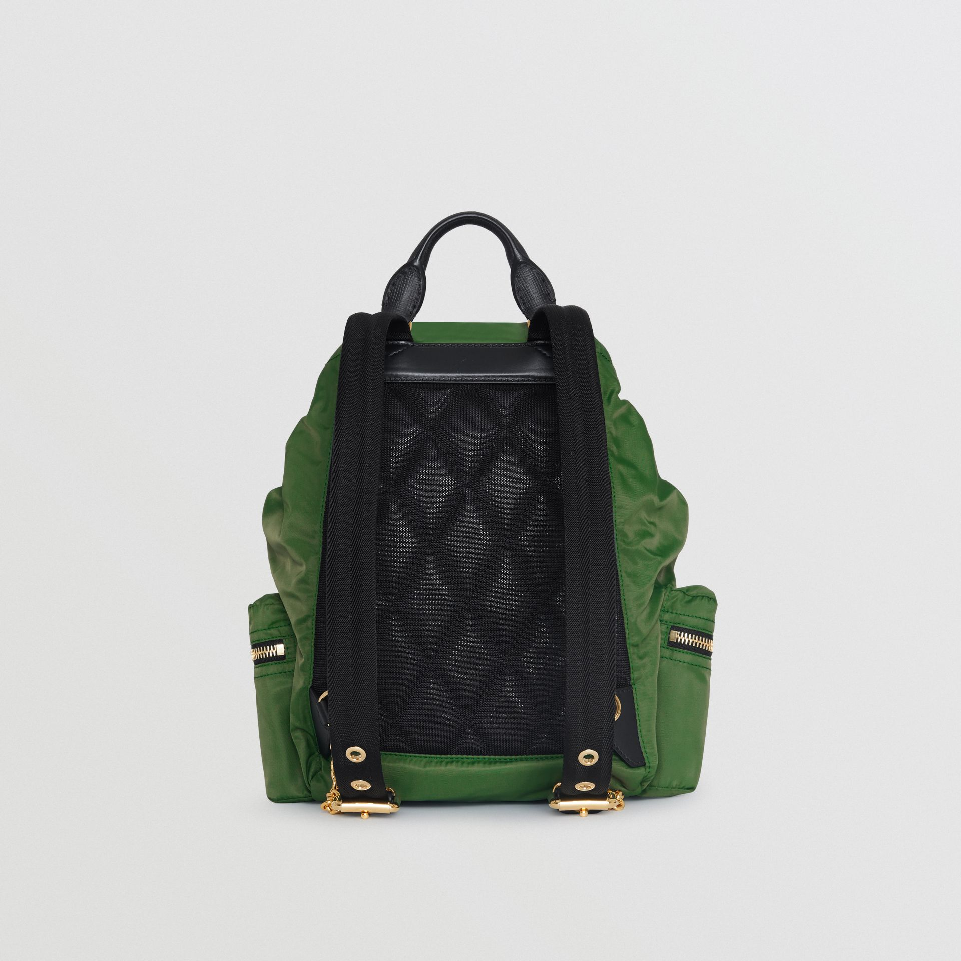 The Medium Rucksack in Technical Nylon and Leather in Racing Green - Women | Burberry - gallery image 7
