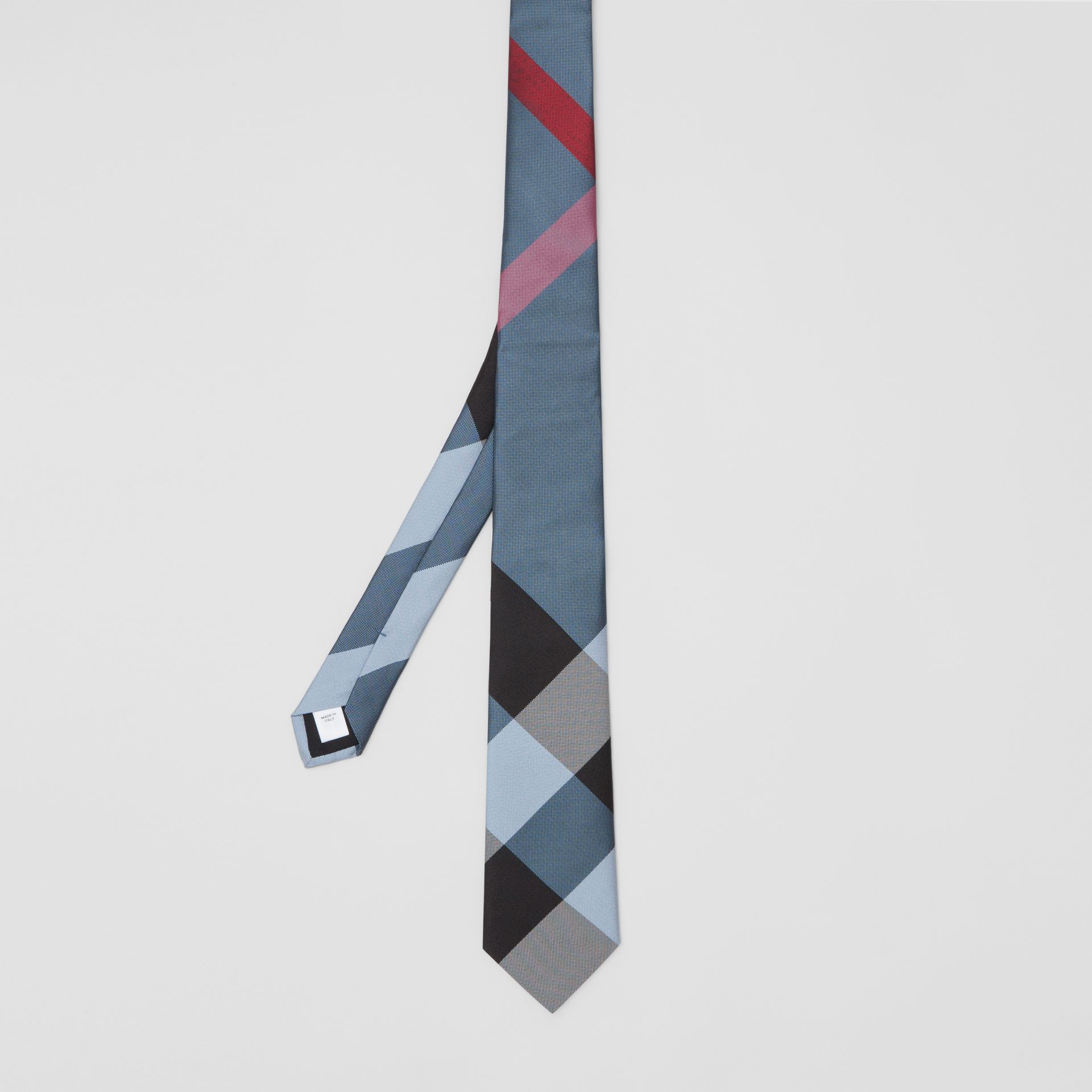 Modern Cut Oversized Check Silk Tie in Pale Blue - Men | Burberry United Kingdom - gallery image 4