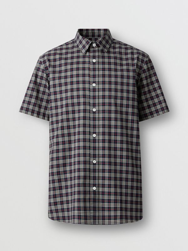 Short-sleeve Check Cotton Shirt in Navy - Men | Burberry - cell image 3