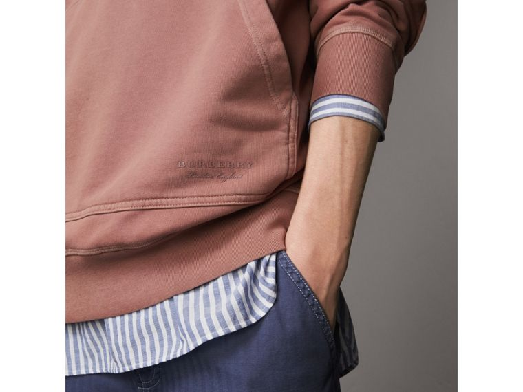 Unisex Pigment-dyed Cotton Oversize Sweatshirt in Dusty Mauve - Men | Burberry Hong Kong - cell image 1