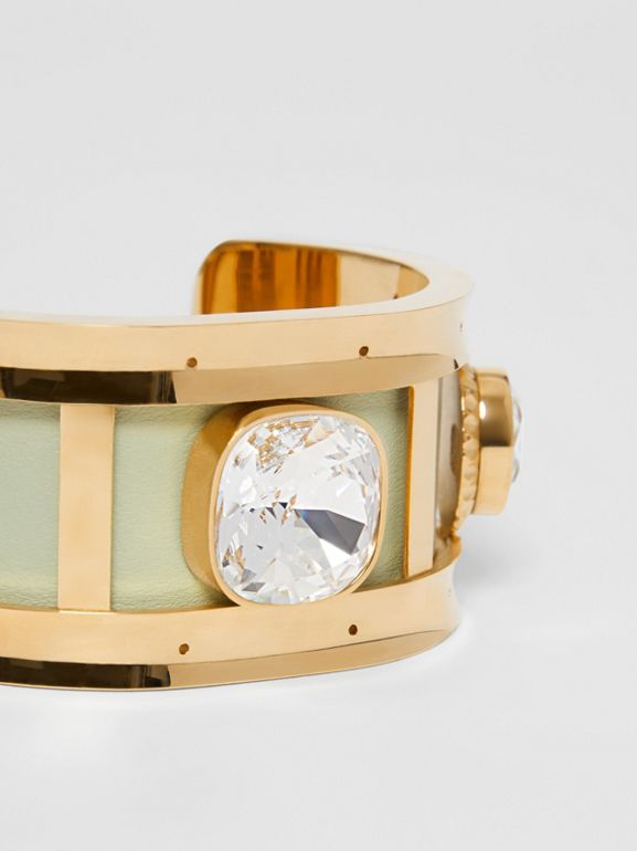 Crystal Detail Lambskin and Gold-plated Cuff in Pistachio/gold - Women | Burberry - cell image 1