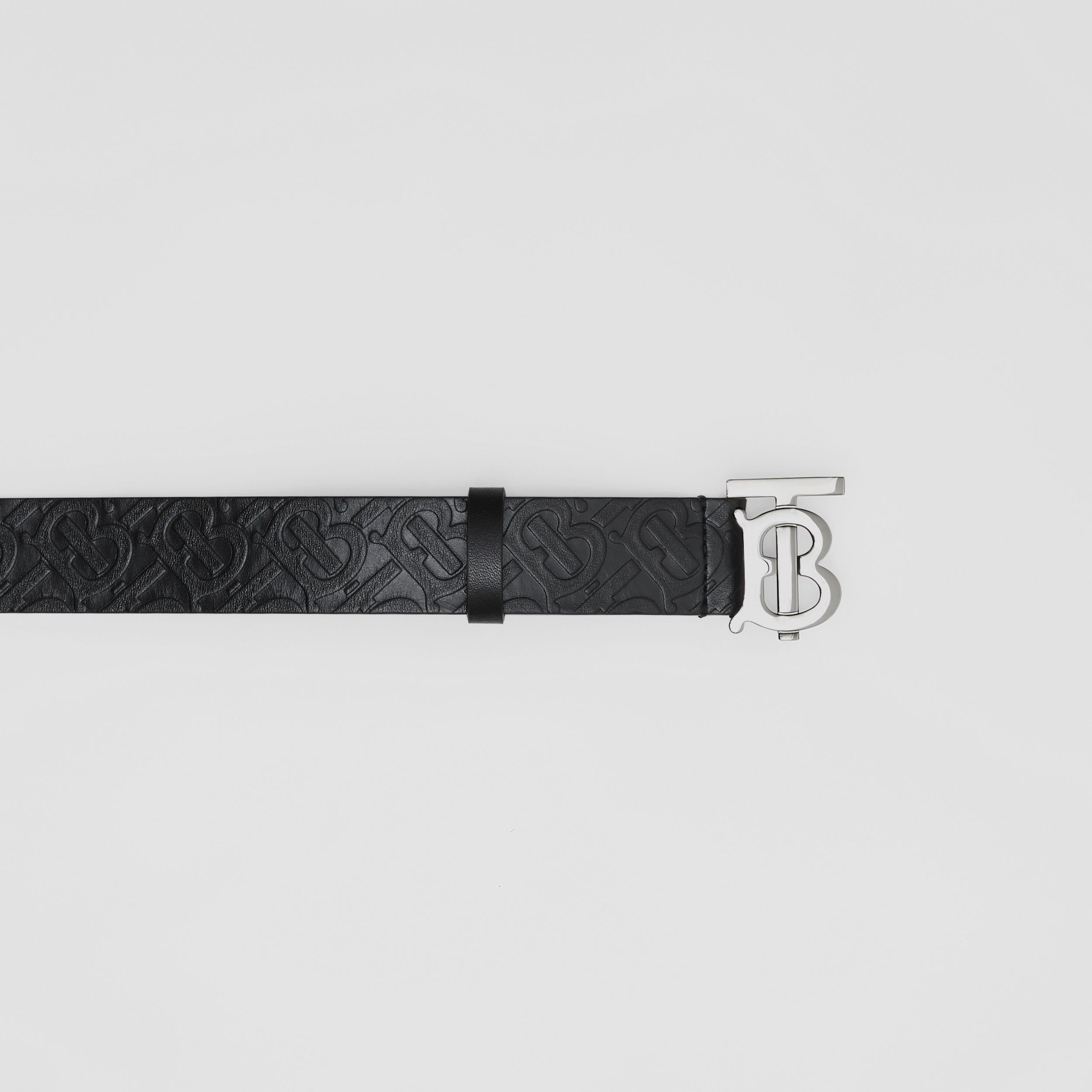 Monogram Motif Monogram Leather Belt in Black/palladium - Men | Burberry - 2