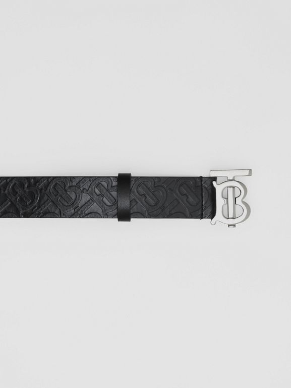 Monogram Motif Monogram Leather Belt in Black - Men | Burberry - cell image 1