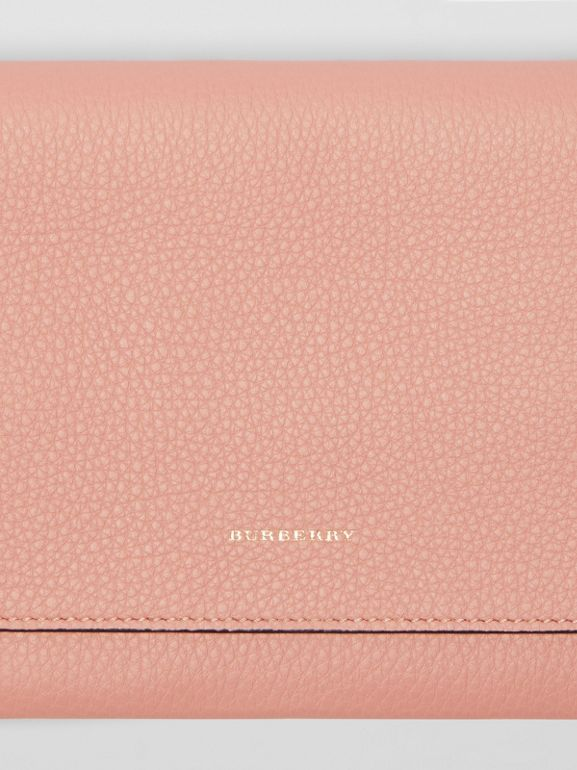 Two-tone Leather Wristlet Clutch in Ash Rose - Women | Burberry - cell image 1