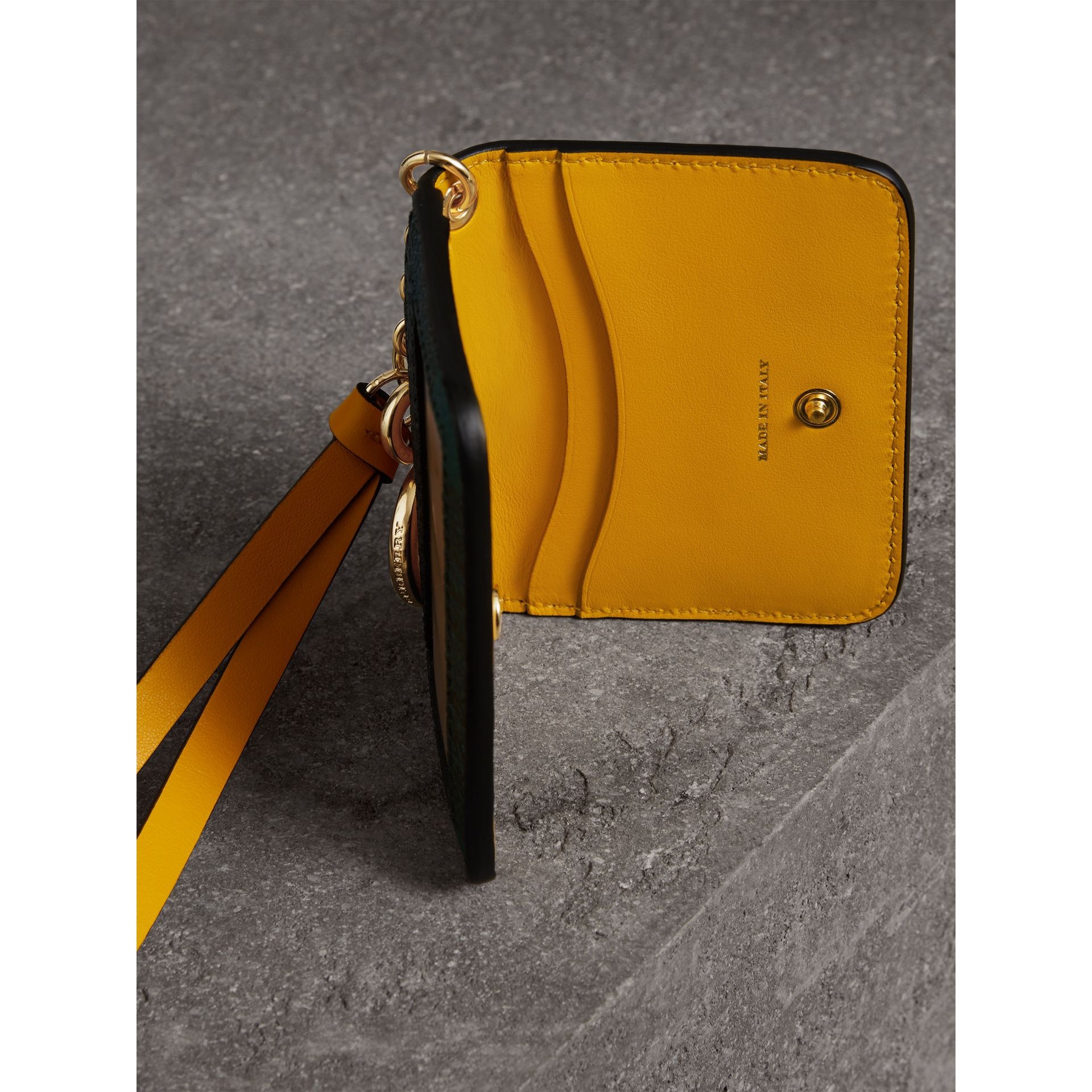 Creature Motif Leather ID Card Case Charm in Yellow Ochre | Burberry - gallery image 3