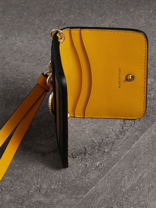Creature Motif Leather ID Card Case Charm in Yellow Ochre | Burberry - cell image 3